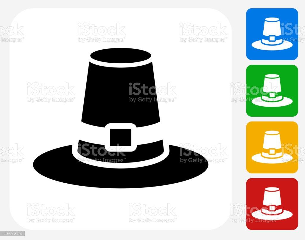 Pilgrim Hat Icon Flat Graphic Design vector art illustration