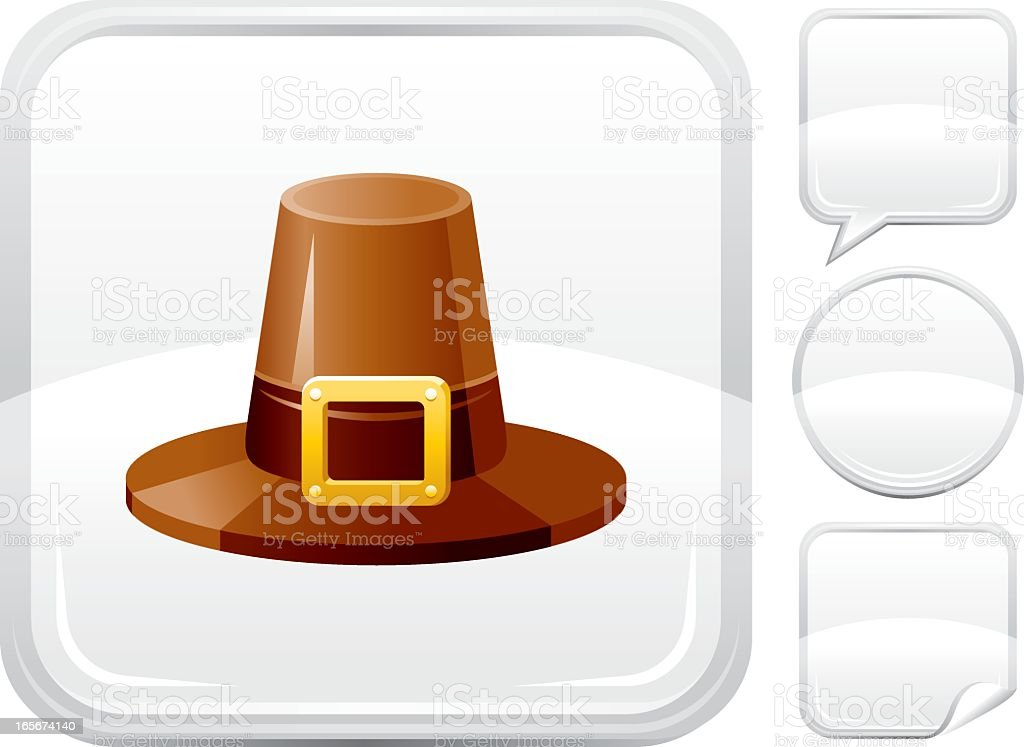 Pilgrim hat icon on silver button royalty-free stock vector art