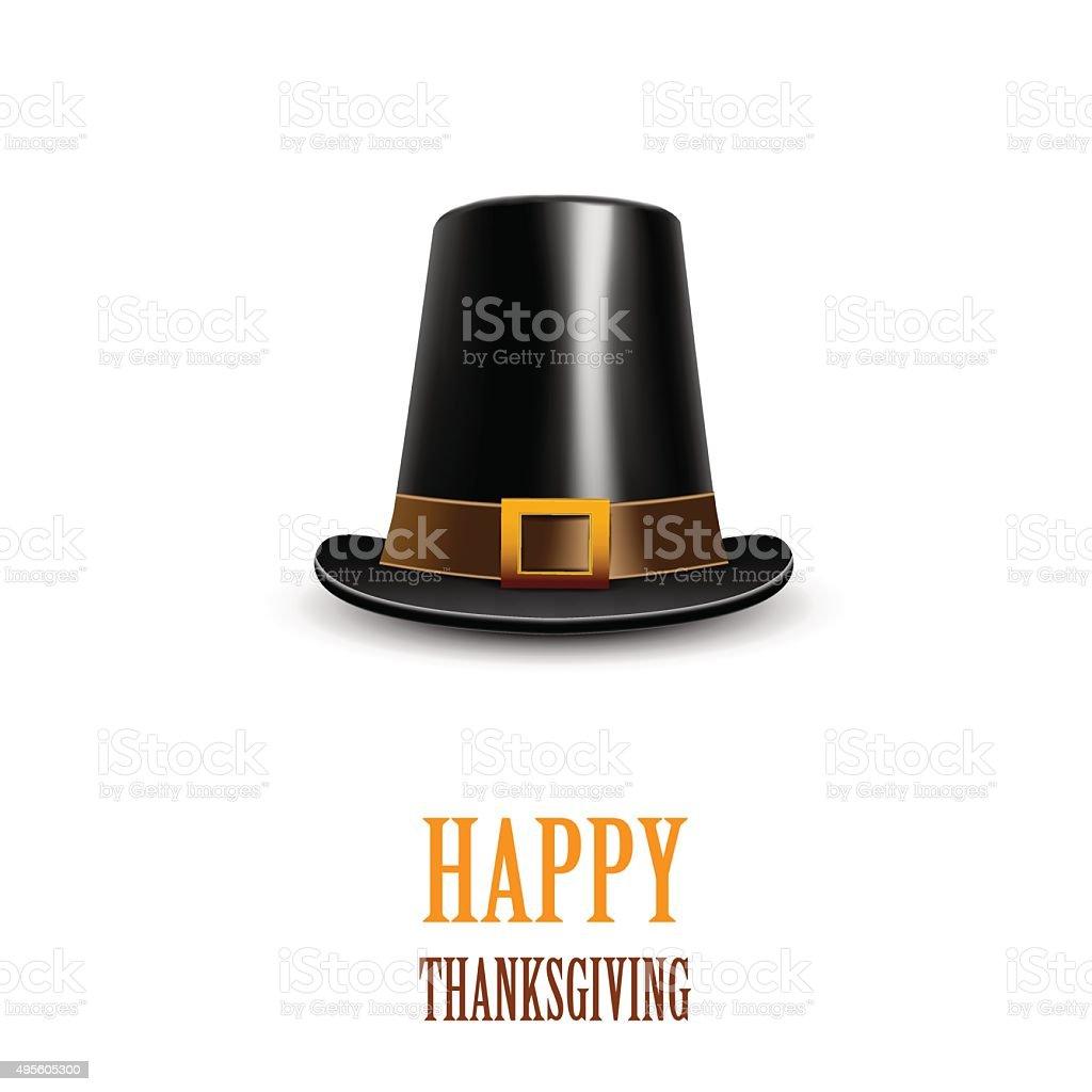 Pilgrim hat. Thanksgiving symbol vector art illustration