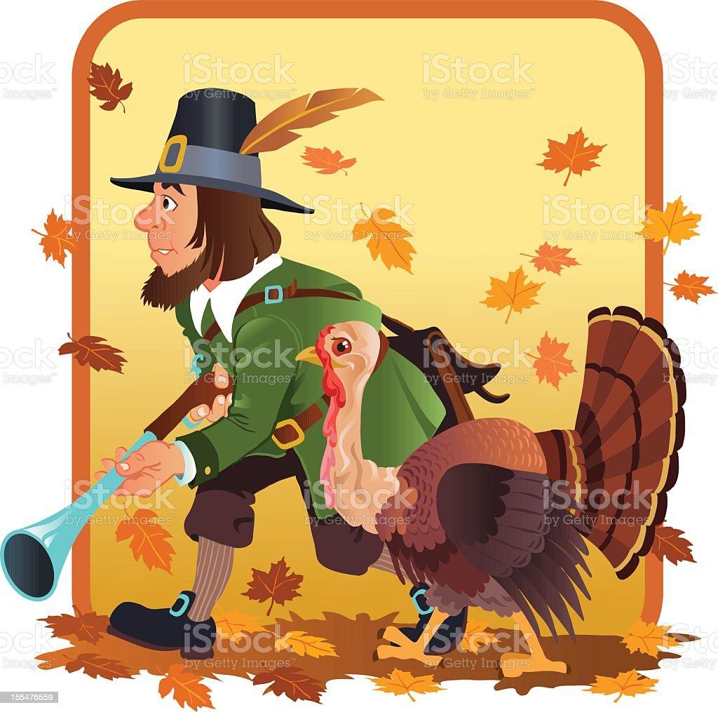 Pilgrim Hunter Searching for Wild Turkey vector art illustration
