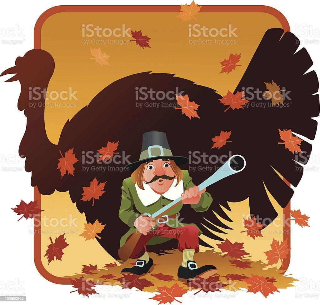 Pilgrim Hunter Stalking an Elusive Turkey royalty-free stock vector art