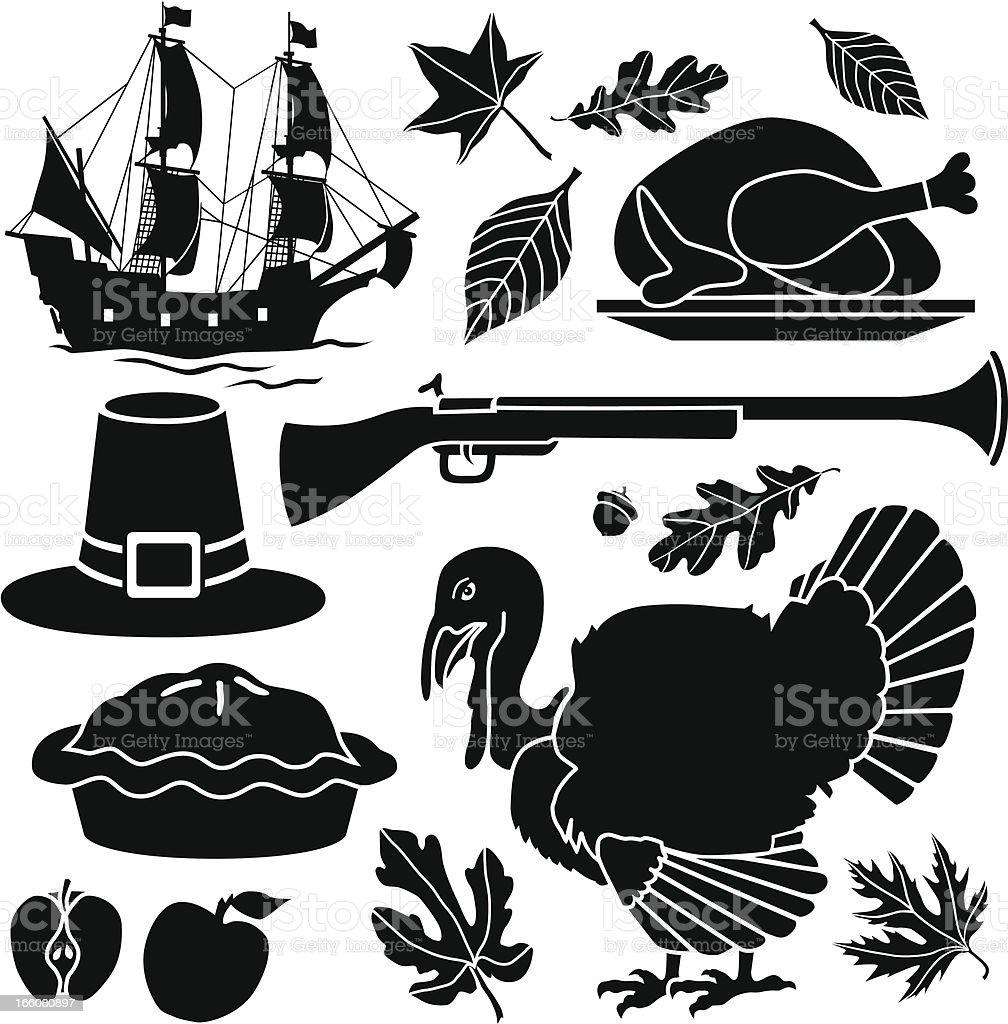 Pilgrim Thanksgiving icons royalty-free stock vector art