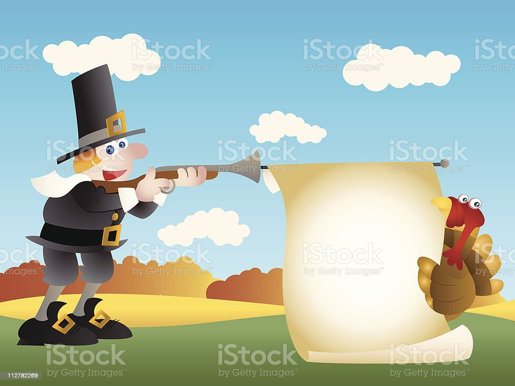 Pilgrim Thanksgiving Shoot royalty-free stock vector art