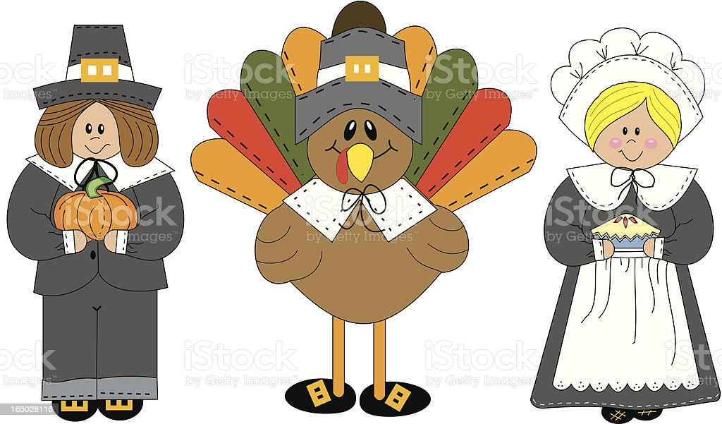 Pilgrim Trio Thanksgiving vector art illustration