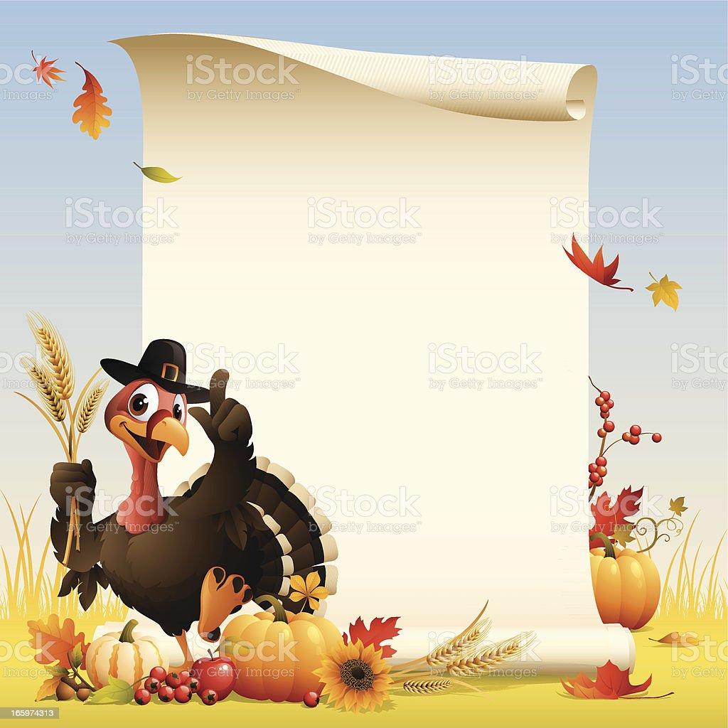 Pilgrim Turkey - scroll royalty-free stock vector art