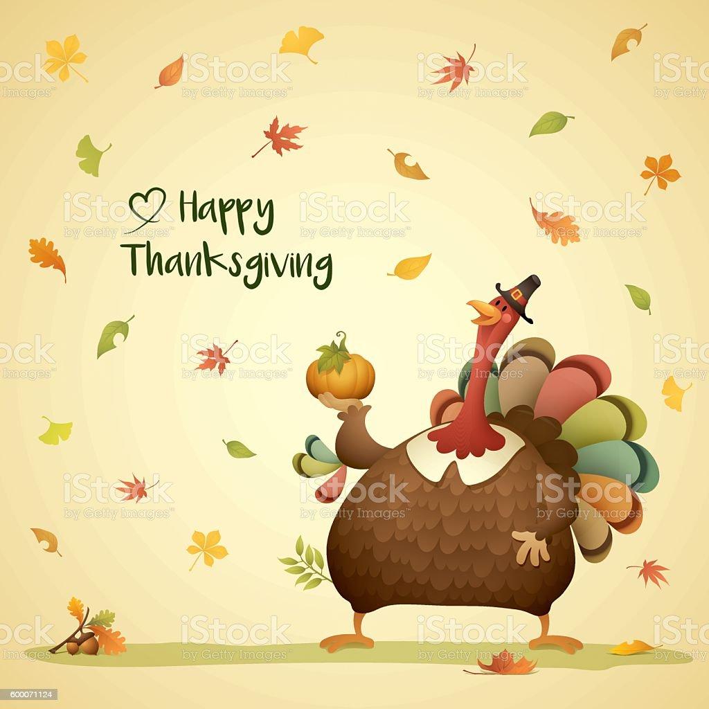 Pilgrim turkey with falling leaves vector art illustration
