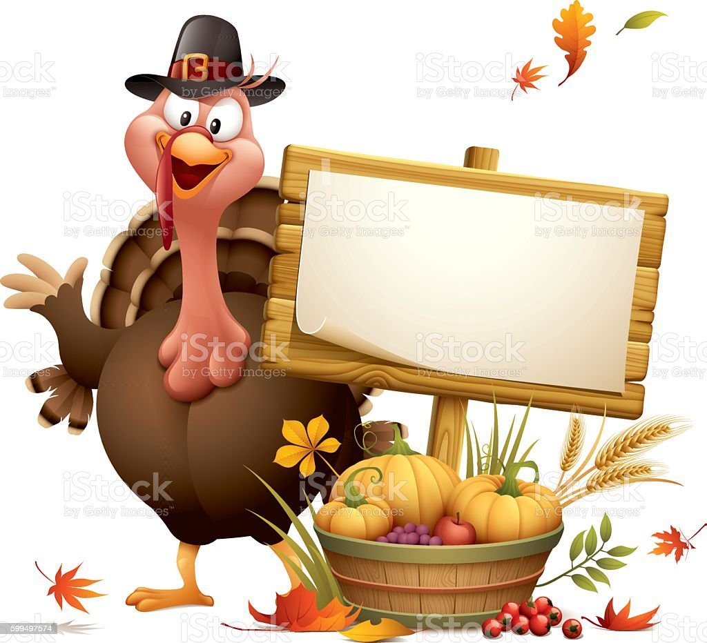 Pilgrim turkey with harvest basket and wood sign vector art illustration