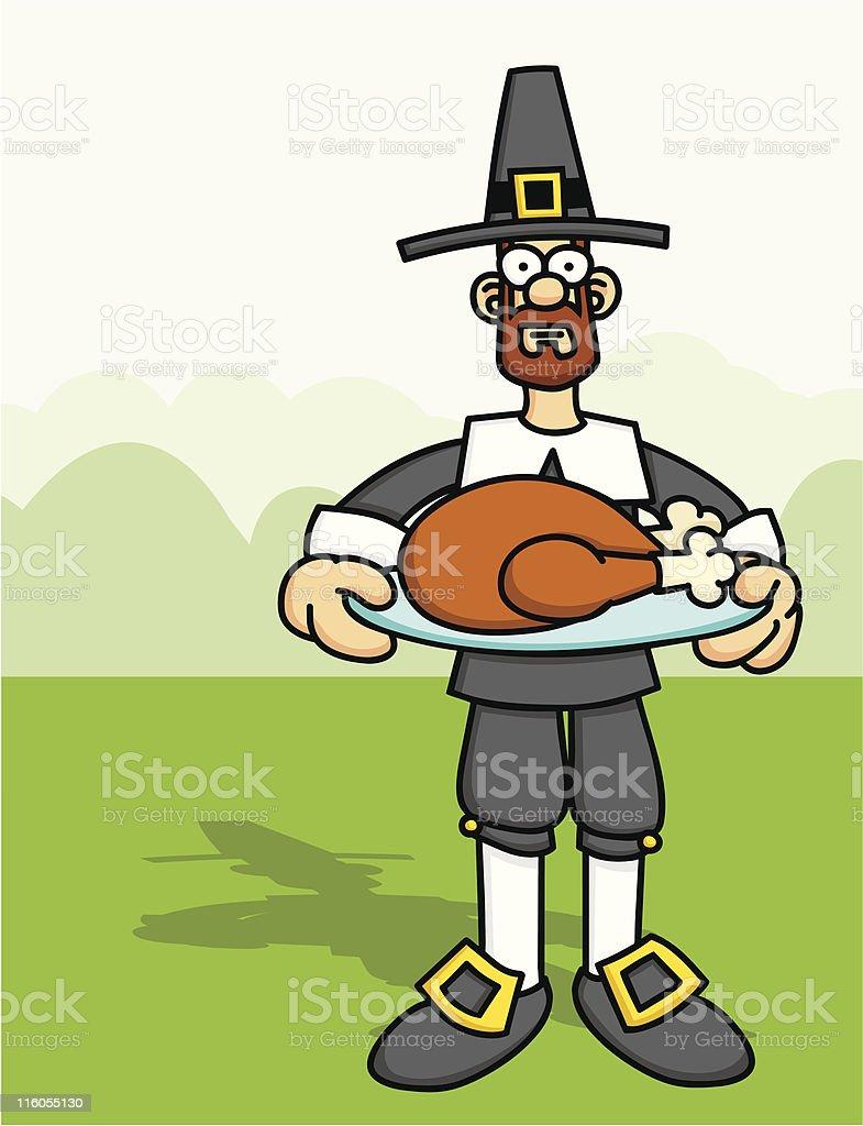 Pilgrim with Cooked Turkey vector art illustration
