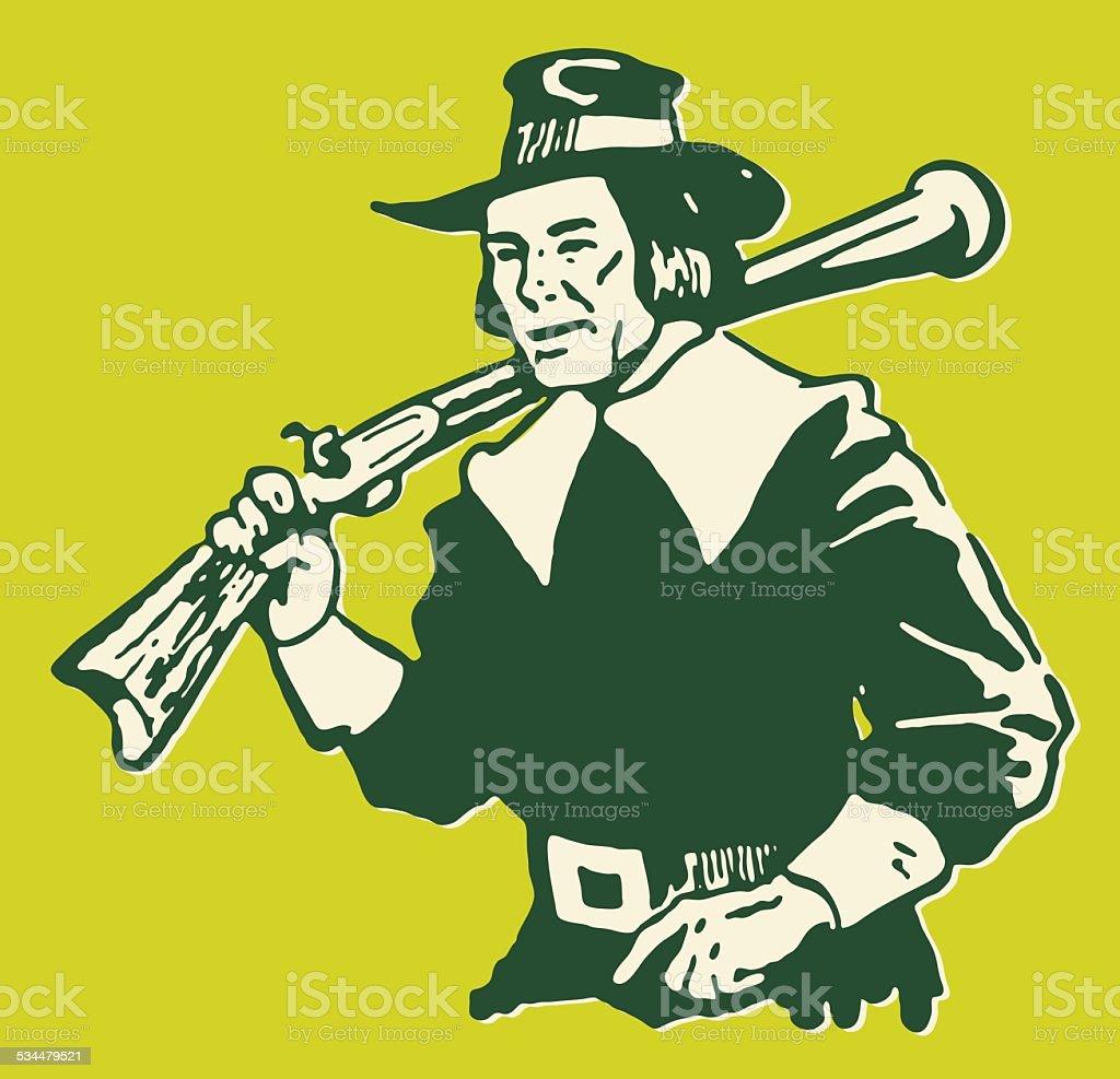 Pilgrim with Rifle vector art illustration