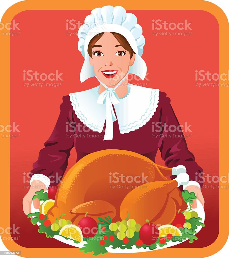 Pilgrim Woman with Thanksgiving Roasted Turkey royalty-free stock vector art