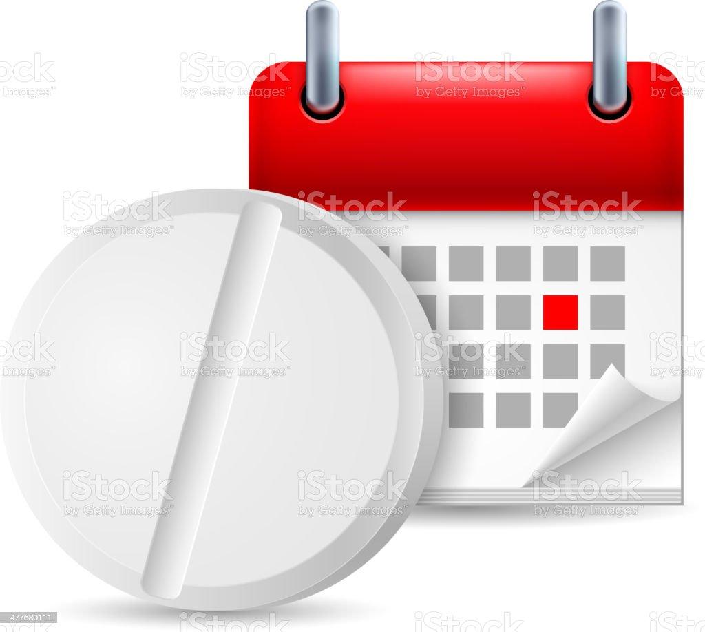 Pill and calendar royalty-free stock vector art