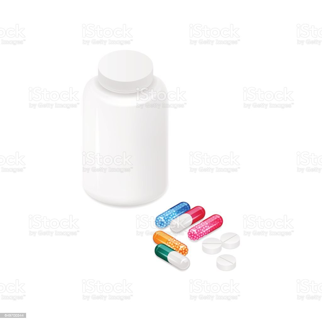 Pill bottle, colorful capsules with granules and tablets vector art illustration