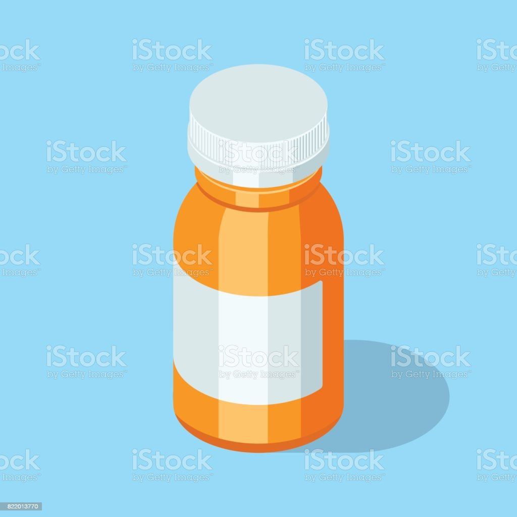 Pill bottle. Medical capsules container. vector art illustration