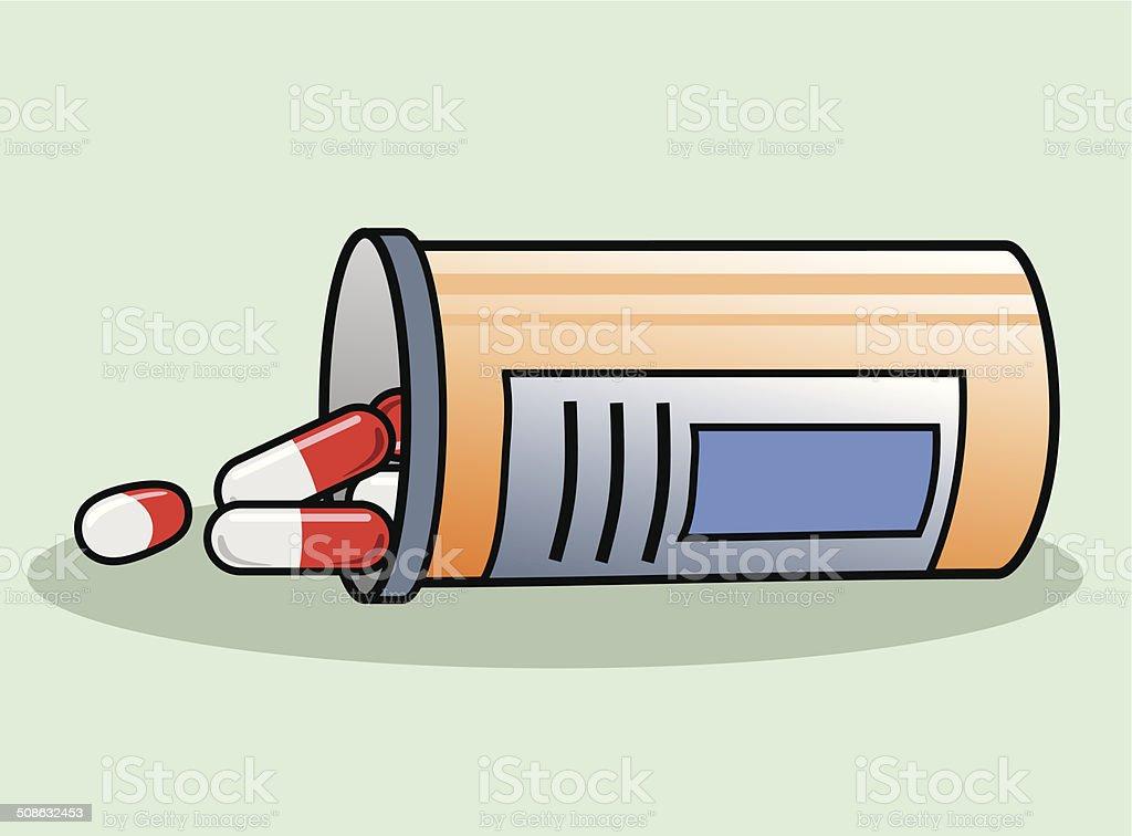 Pill bottle vector art illustration