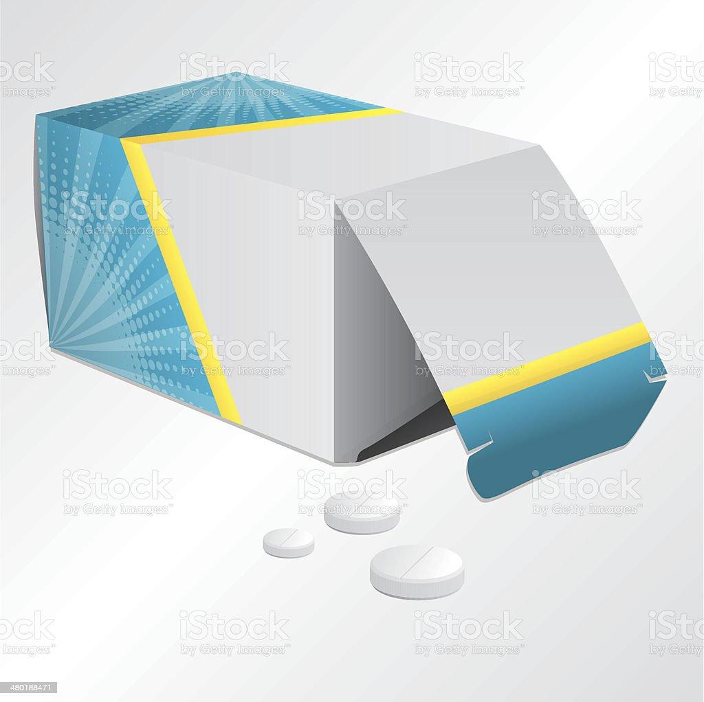 Pill box and pills vector art illustration