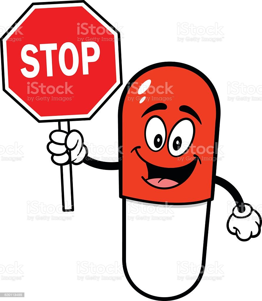 Pill Mascot with Stop Sign vector art illustration