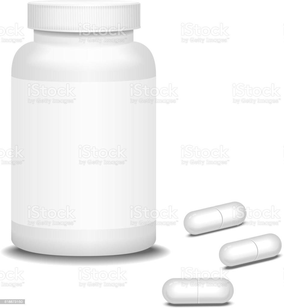 Pill medicine bottle and capsule. Vector illustration vector art illustration