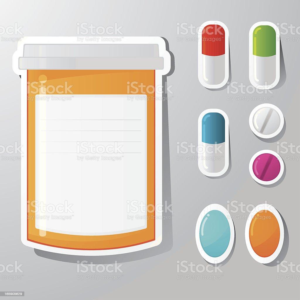 Pill stickers vector art illustration