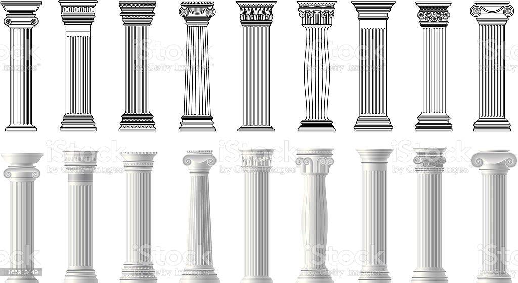 pillars vector art illustration