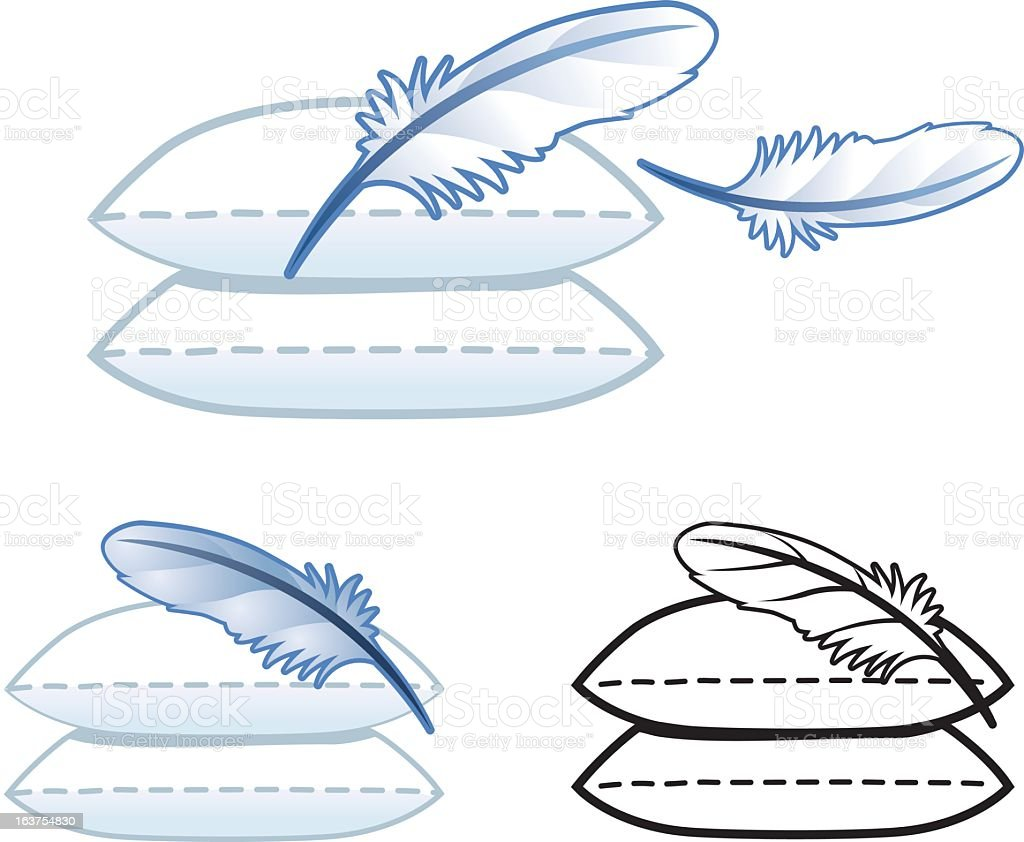 Pillow Feather Icons vector art illustration
