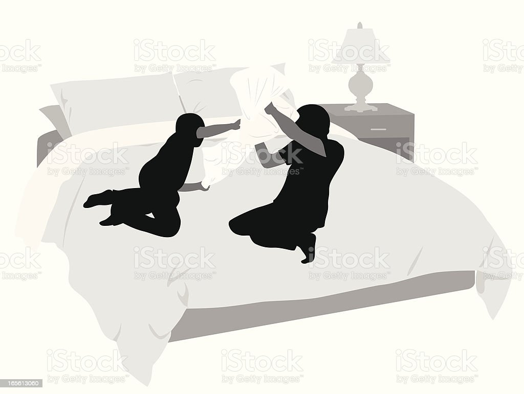 Pillow Fight Vector Silhouette royalty-free stock vector art