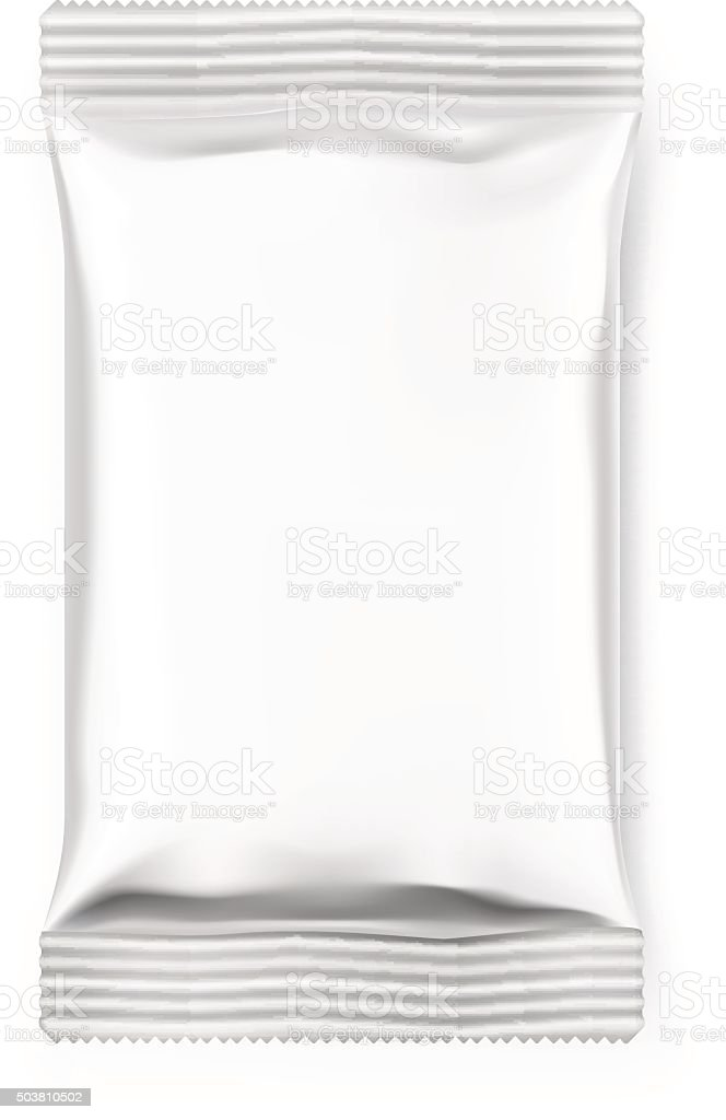 Pillow flow pack with realistic transparent shadows on white background. vector art illustration