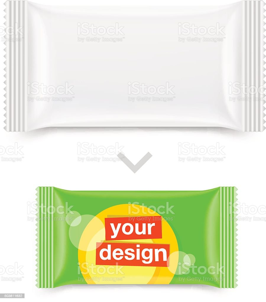 Pillow flow sachet pack with an example of use. vector art illustration