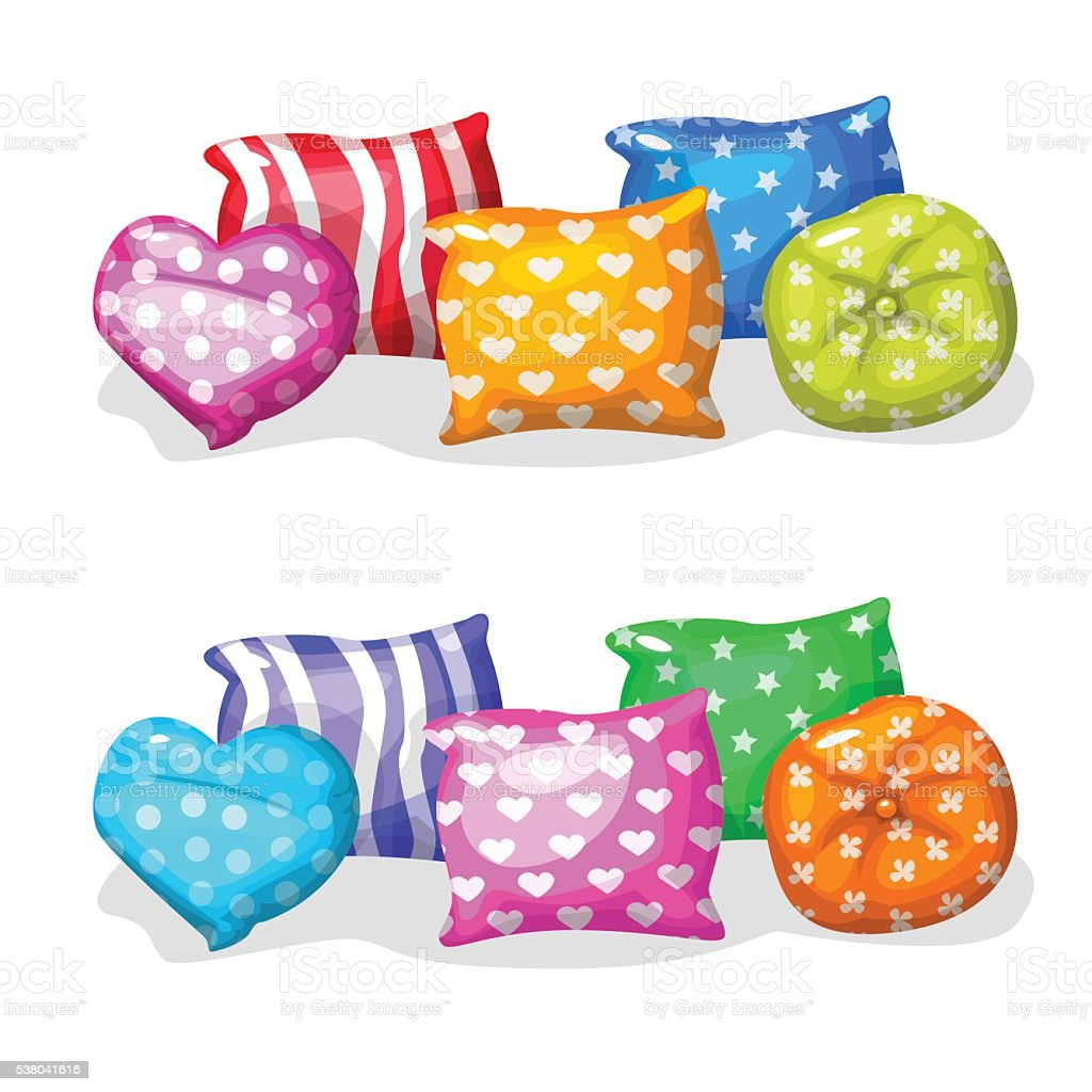 pillows in different colors and shapes vector art illustration