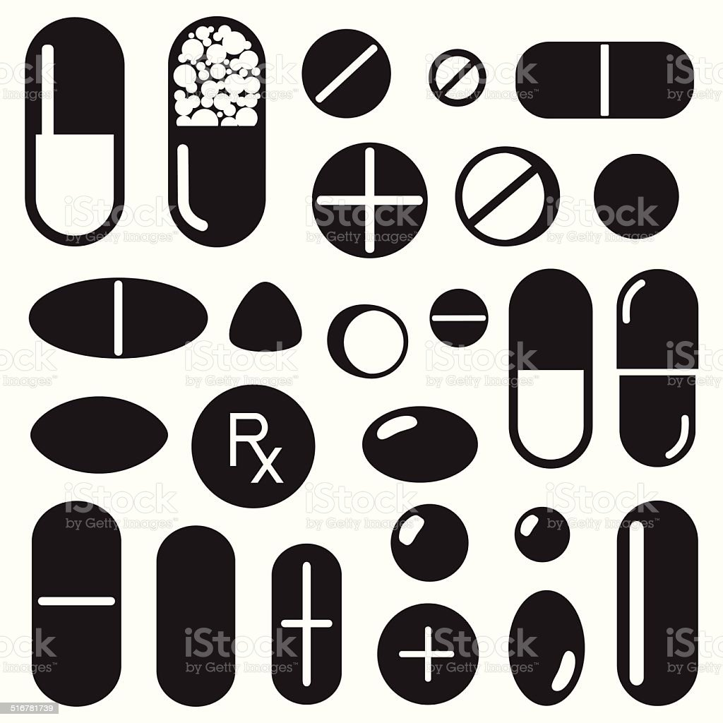 Pills and capsules icon vector art illustration