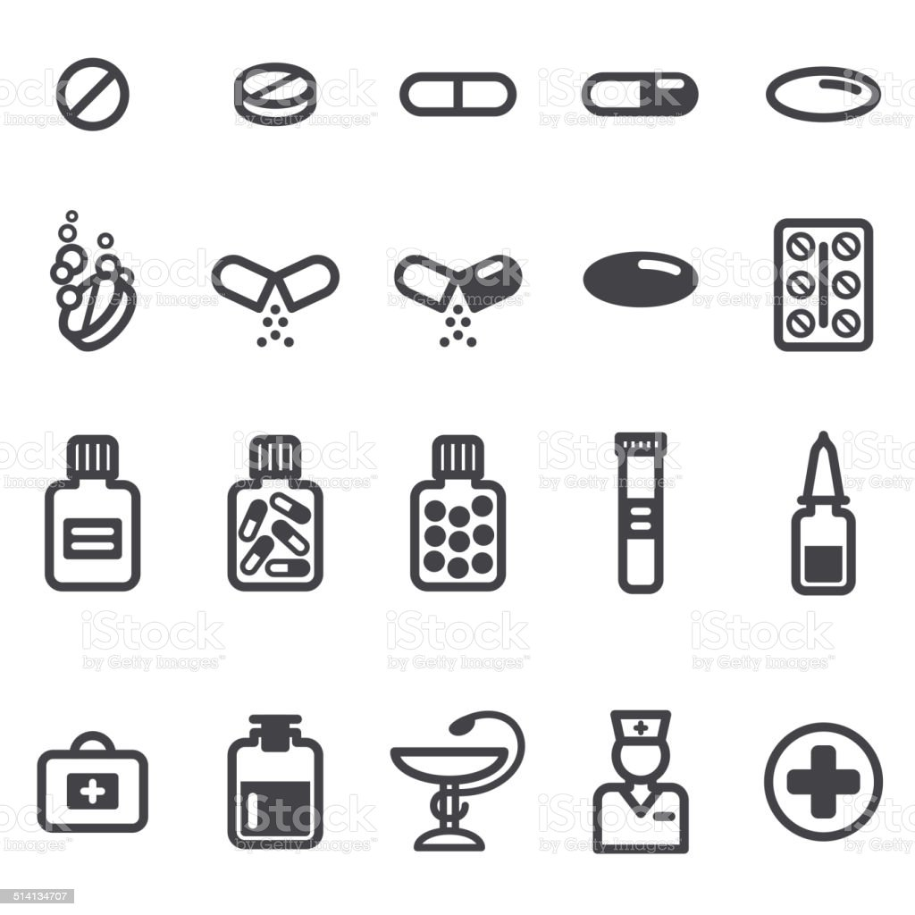 Pills and capsules icons set. vector art illustration