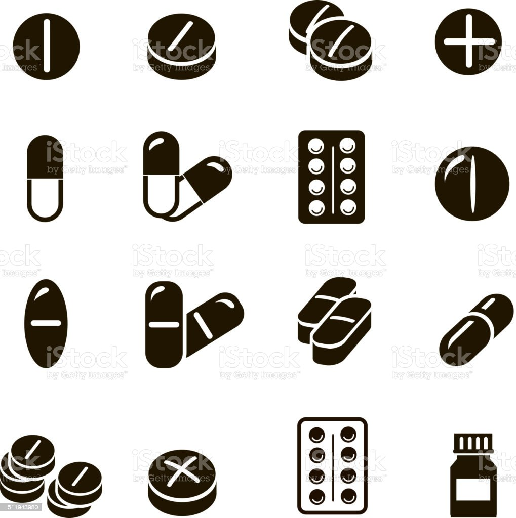 Pills and capsules icons set  vector vector art illustration
