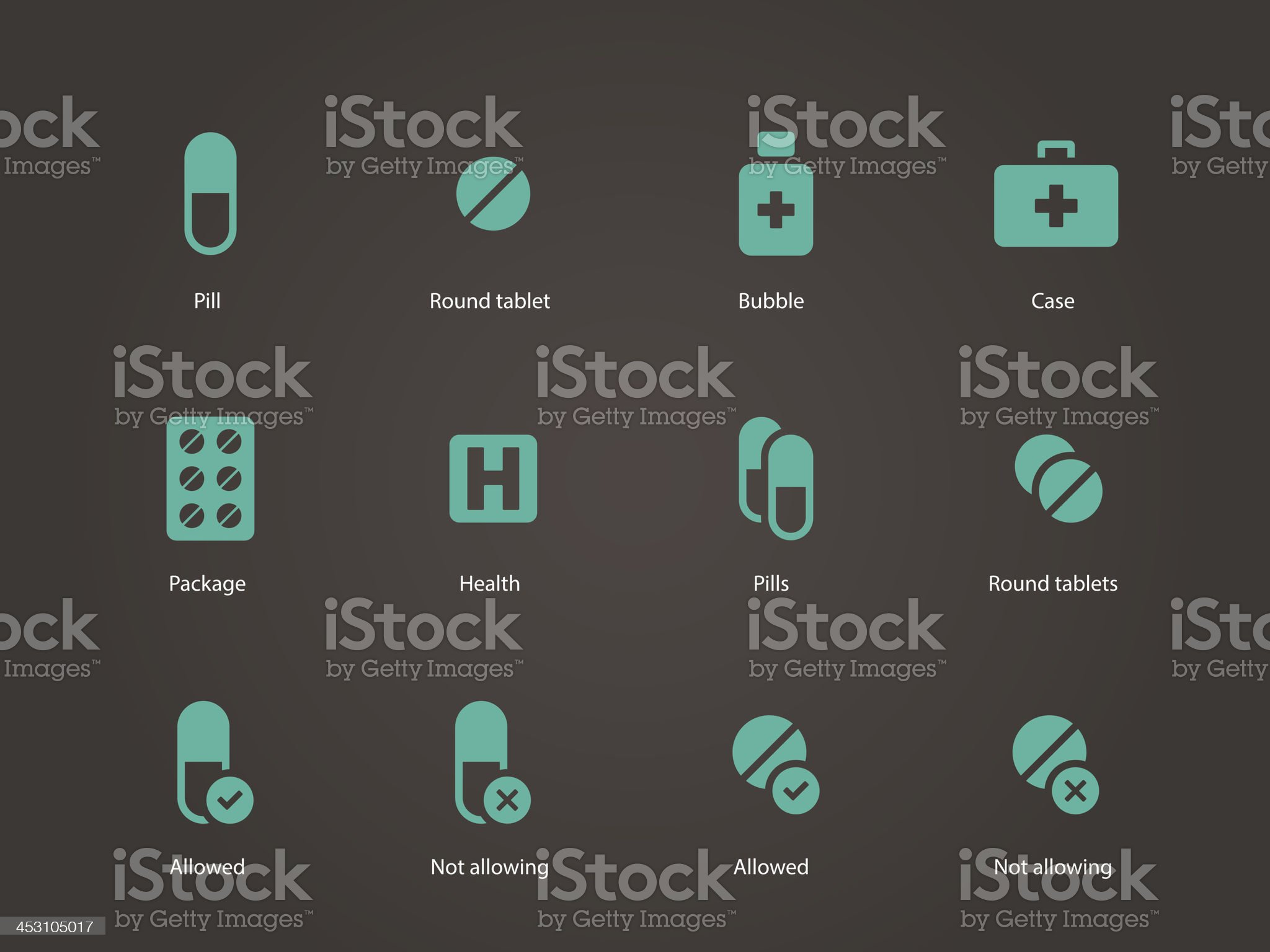 Pills and capsules icons. royalty-free stock vector art