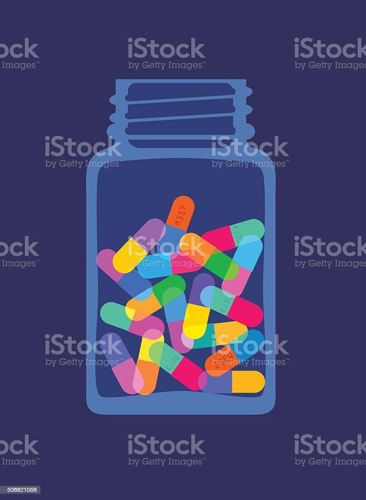 Pills and Capsules in Bottle vector art illustration