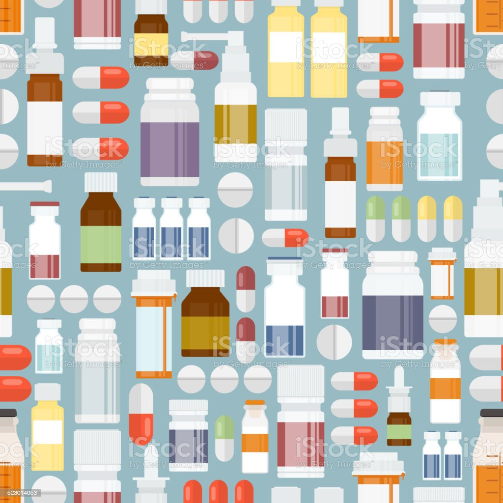 Pills and Drugs in Seamless Pattern vector art illustration