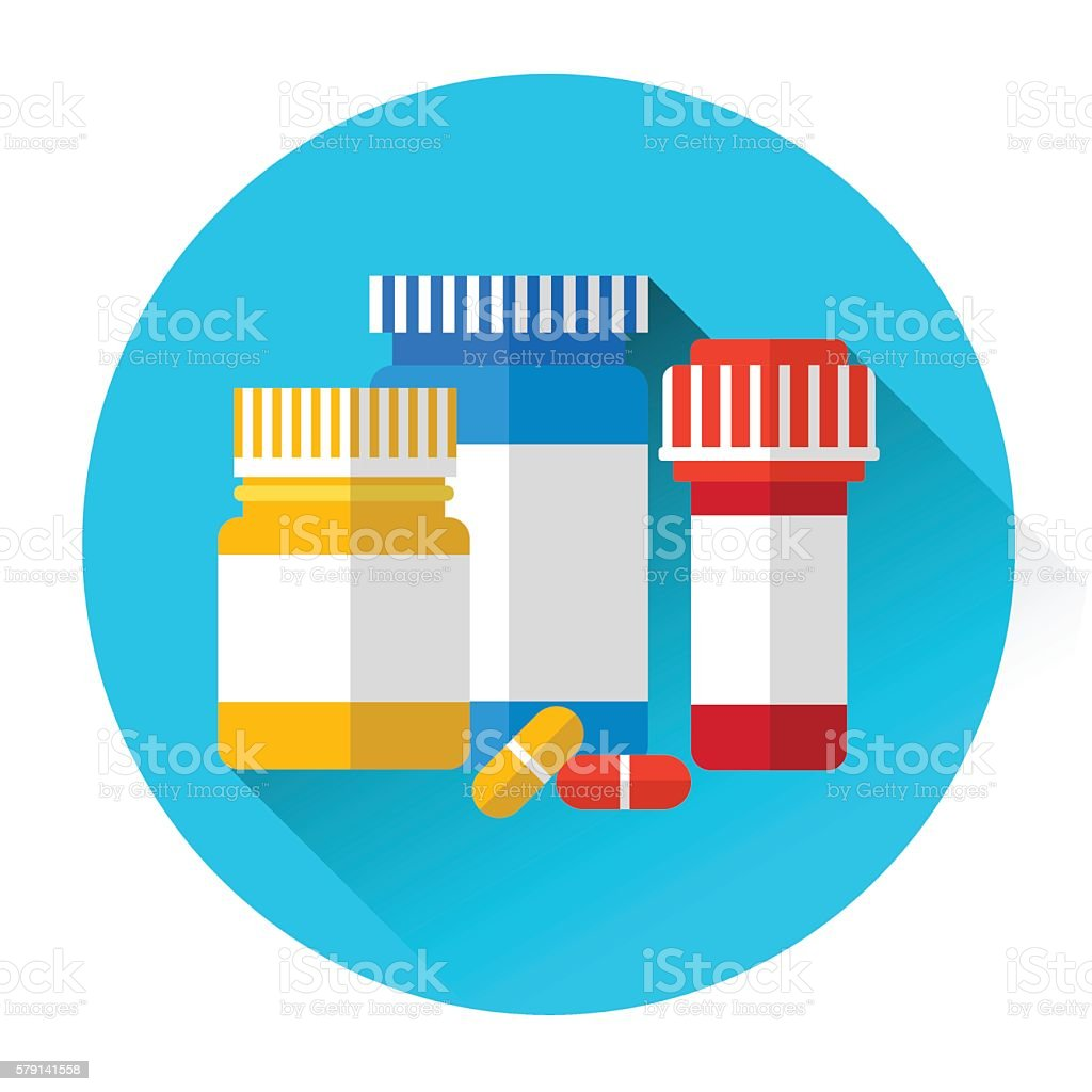 Pills Bottles Medicine Icon vector art illustration