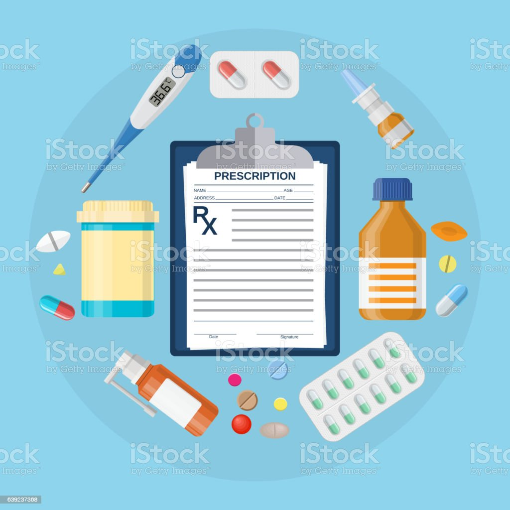 Pills bottles, tablets with medical prescription vector art illustration