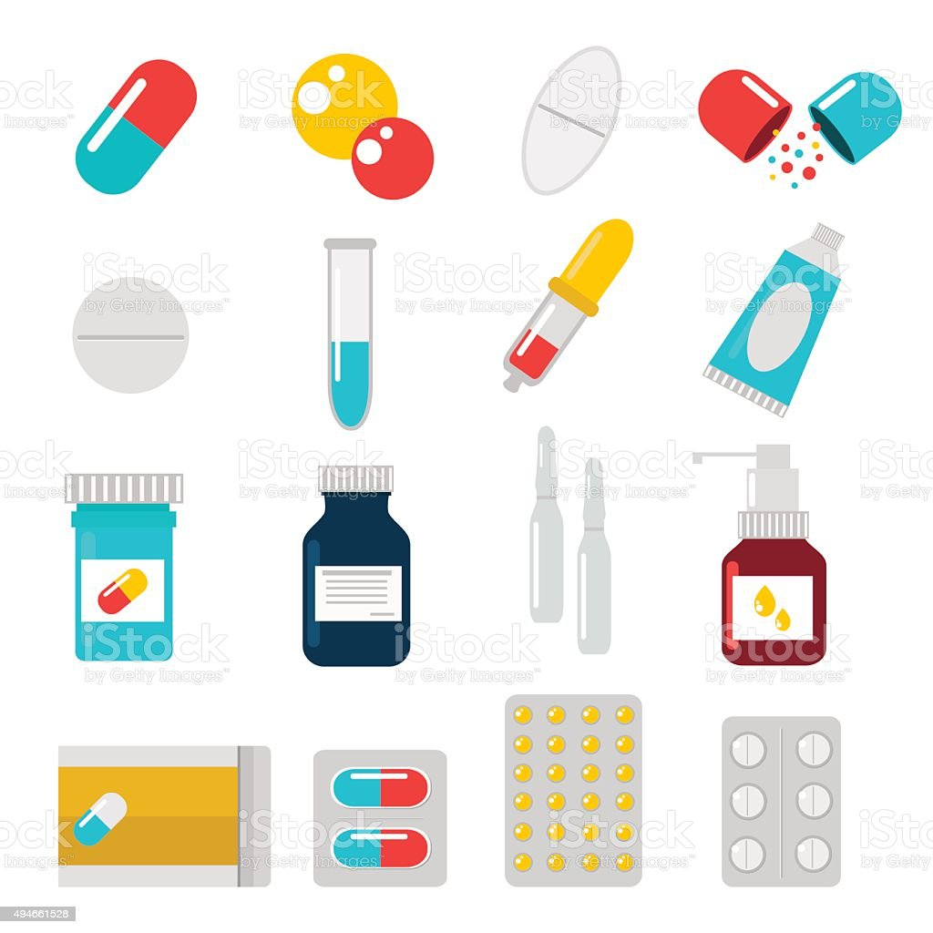 Pills capsules icons vector flat set. Medical vitamin pharmacy illustration vector art illustration