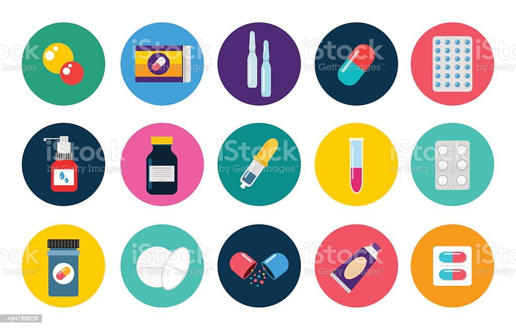 Pills capsules icons vector flat set. Medical vitamin pharmacy illustration vector art illustration