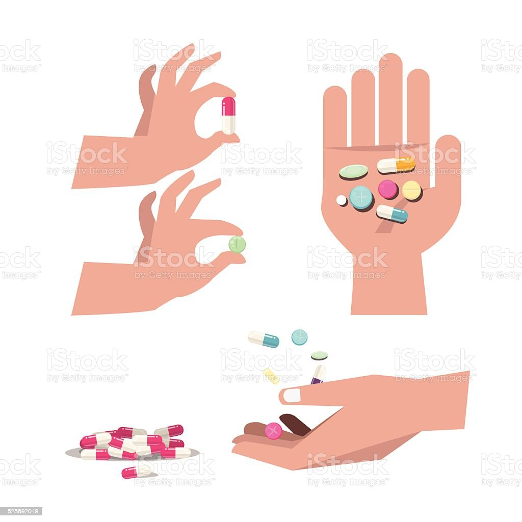 pills drug and tablet with hand. medicine - vector vector art illustration