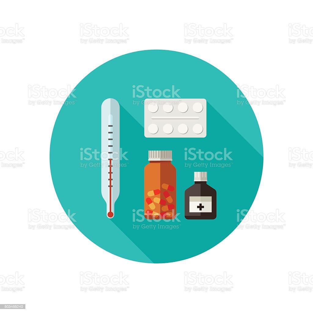 Pills flat icon. vector art illustration