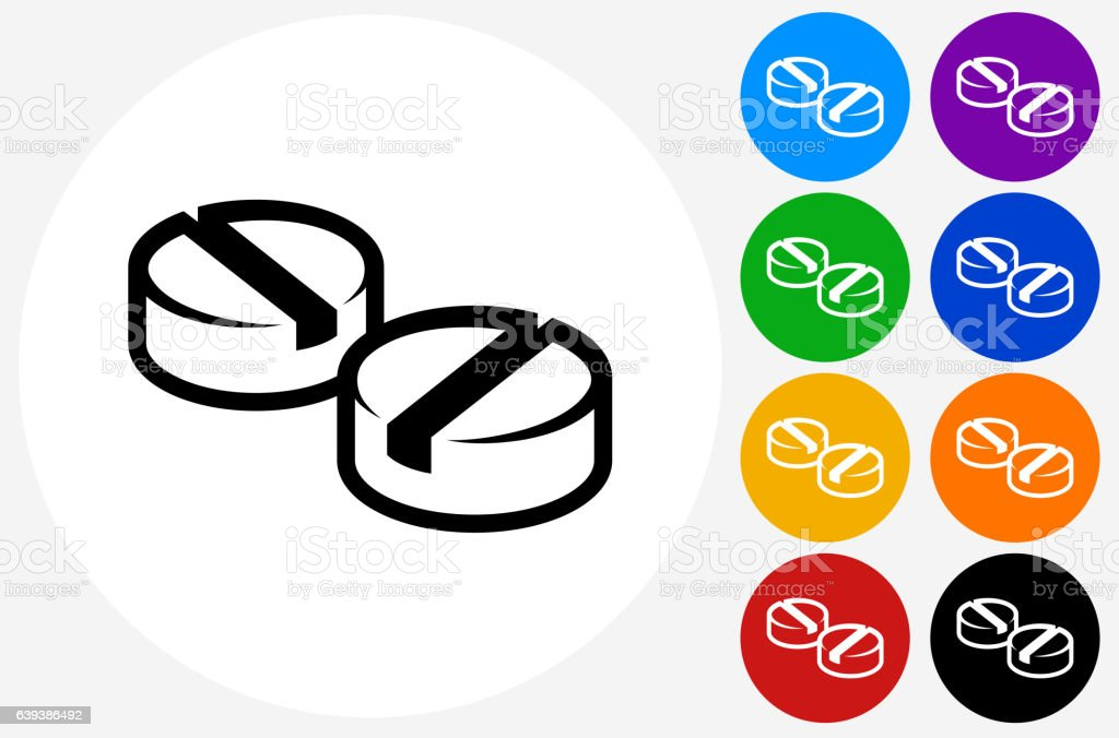 Pills Icon on Flat Color Circle Buttons vector art illustration