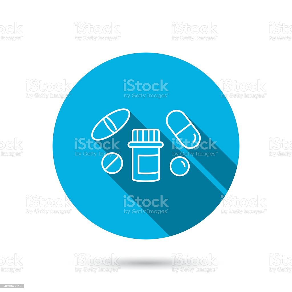 Pills icon. Pharmacy bottle sign. vector art illustration