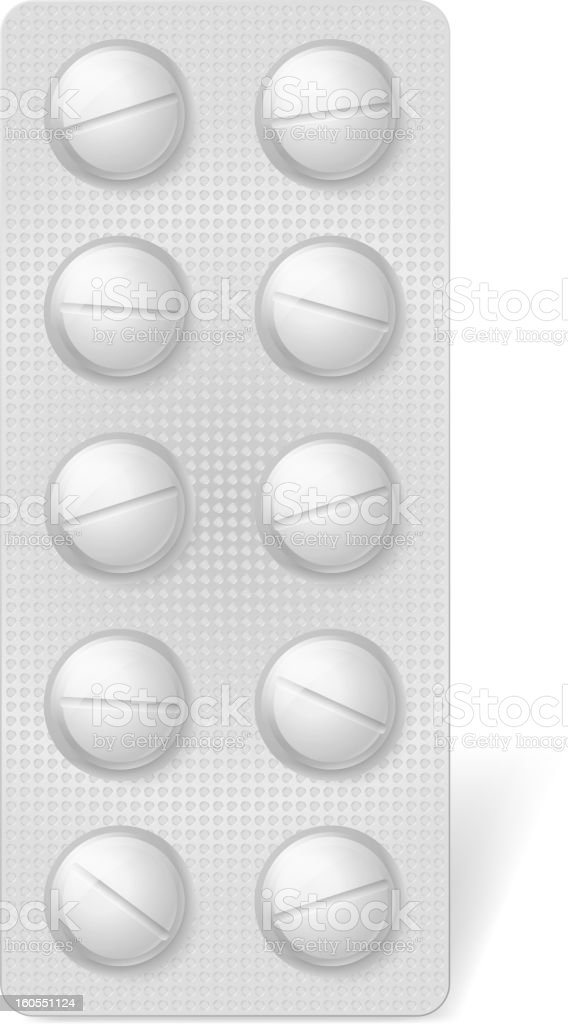 Pills in blister royalty-free stock vector art