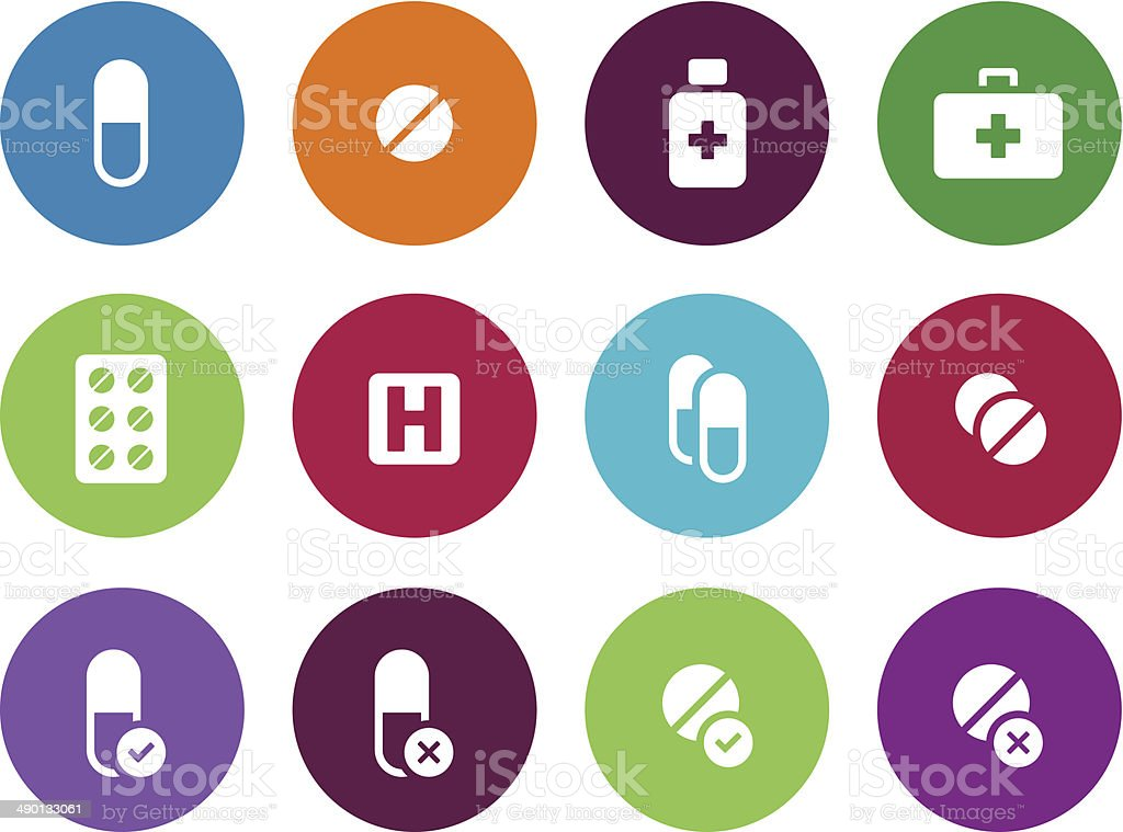 Pills, medication circle icons on white background. royalty-free stock vector art