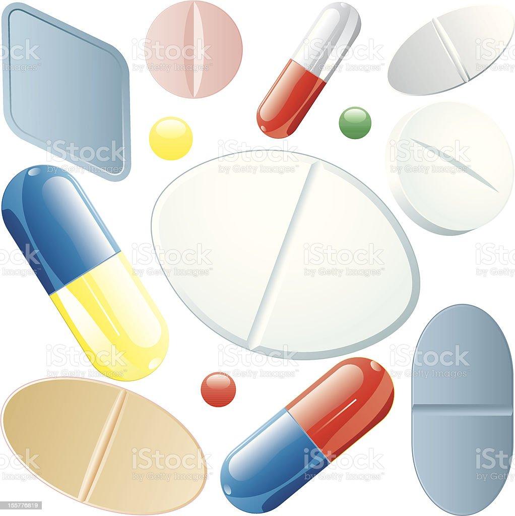 pills set royalty-free stock vector art