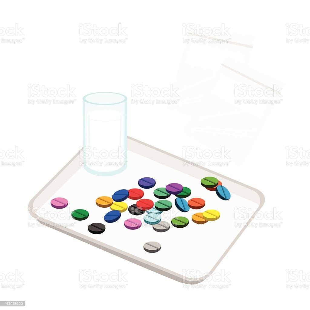 Pills with Drinking Water on Counting Tray vector art illustration