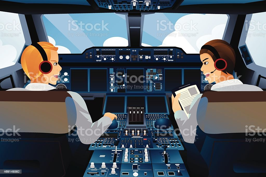 Pilot and copilot inside the cockpit vector art illustration