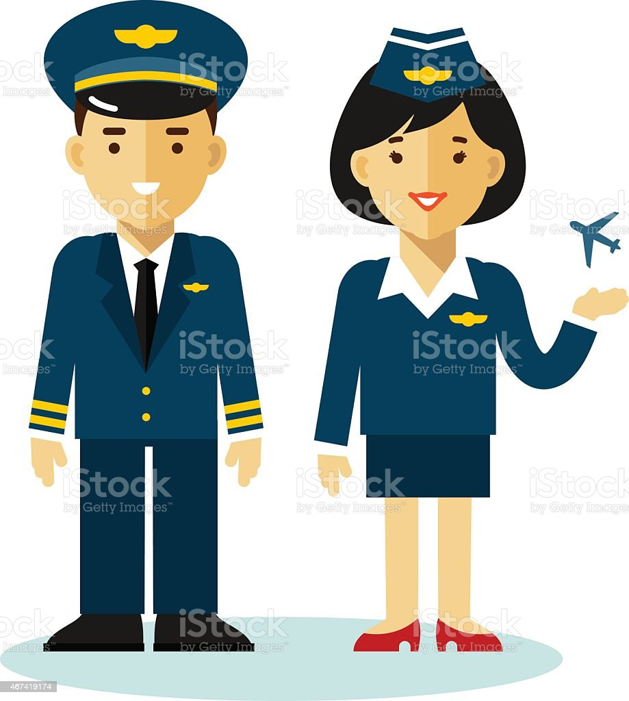 Pilot and stewardess in flat style vector art illustration