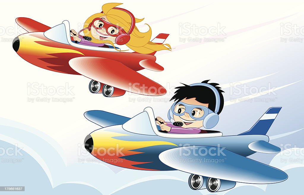 Pilot children royalty-free stock vector art