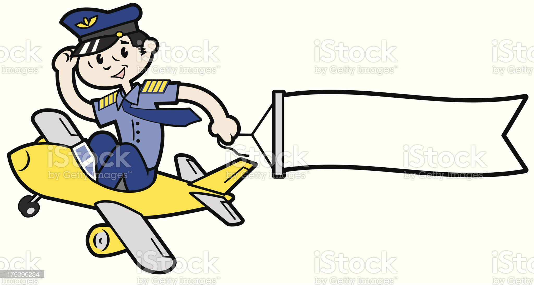 Pilot in a comicalally small plane towing banner royalty-free stock vector art